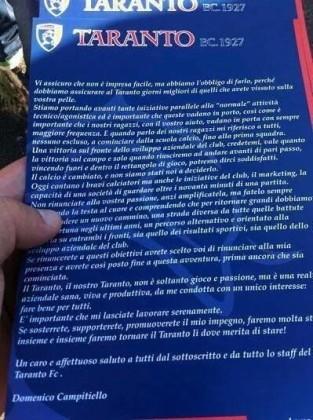 """Prima vittoria casalinga per il Taranto. Ma  Campitiello """"minaccia"""" i tifosi"""