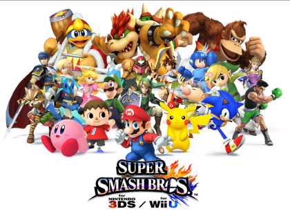 Super SmashBros.  Cosa fanno Supermario, Sonic, Megaman e  Pacman su una  piattaforma volante? Se le danno di santa ragione !