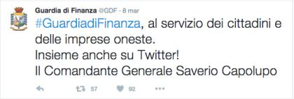 La Guardia di Finanza approda su Twitter. Attivato il nuovo profilo ufficiale  @gdf