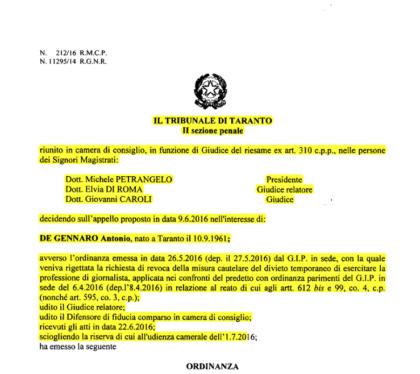 """Una buona notizia: esiste una giustizia """"giusta"""" anche a Taranto"""