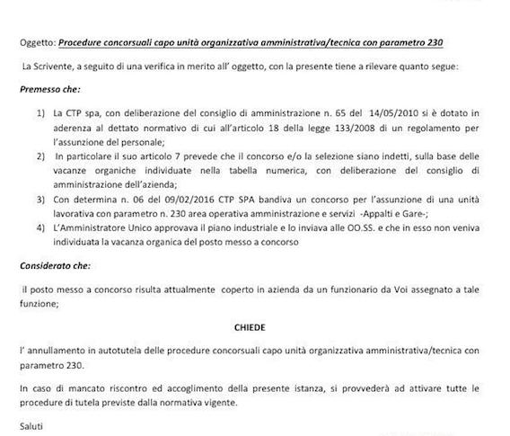 Lettera sindacato a CTP Taranto