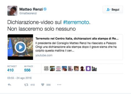 cdG renzi tweet terremoto
