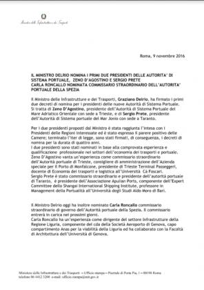 cdG cv comunicato stampa Delrio