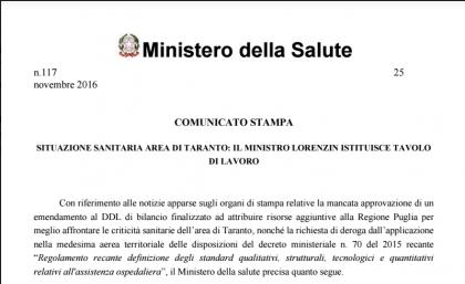 Il Ministro Lorenzin istituisce tavolo di lavoro sulla situazione sanitaria dell' area di Taranto