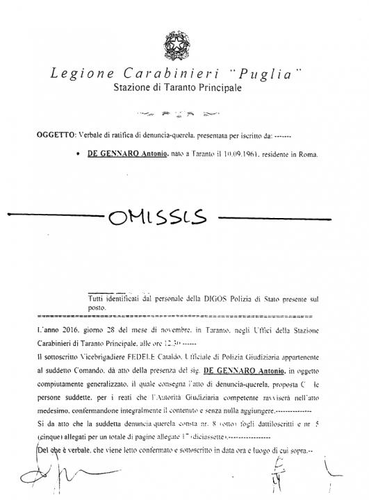 CDG denuncia Comune di Taranto