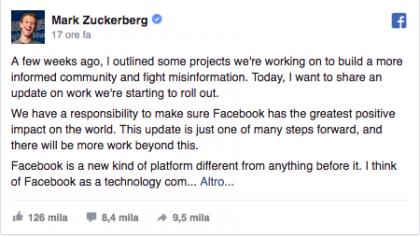 Germania vuole multare Facebook per le notizie 'bufala'