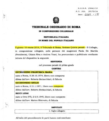 """ESCLUSIVA del Corriere del Giorno: le attività degli """"spioni""""- fratelli Occhionero erano fallite !"""