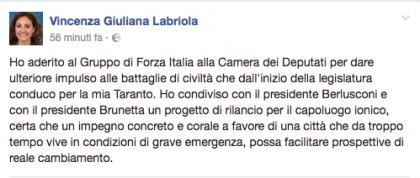 """Ecco il nuovo deputato di Forza Italia a Taranto"""": Vincenza Giuliana Labriola (ex M5S)"""