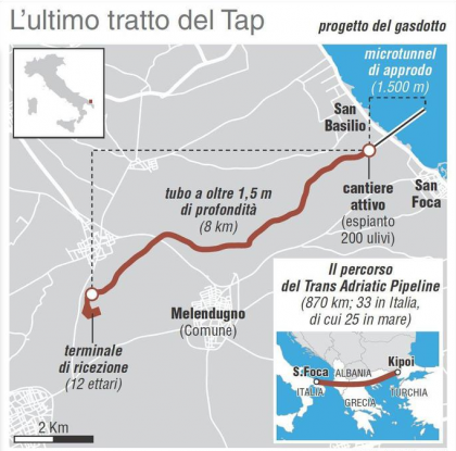Tap: via libera da Palazzo Chigi per la prosecuzione delle opere