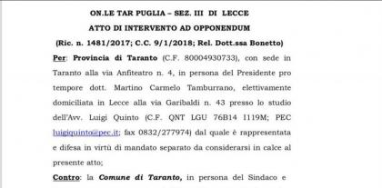La Provincia di Taranto si schiera con il Governo e presenta un contro ricorso al Tar, contro il ricorso del Comune di Taranto