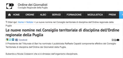 Il Corriere del Giorno aveva ragione. L' (ex) sen. Colaianni si è dimesso dal Consiglio di Disciplina dove era stato nominato illegalmente !