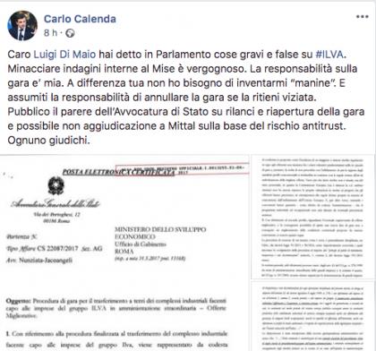L'ex Ministro Calenda replica all' Anac e smentisce e Di Maio