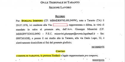 """ESCLUSIVA ! Il ricorso della """"staffista"""" del Sindaco Melucci contro il Comune di Taranto,  in attesa del processo penale"""