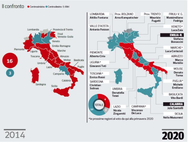 Regioni Cartina Italiana Politica.La Vera Mappa Politica Nelle Regioni Dopo Il Voto Il Corriere Del Giorno