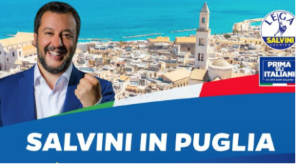 Regionali Puglia: Salvini torna nel Salento